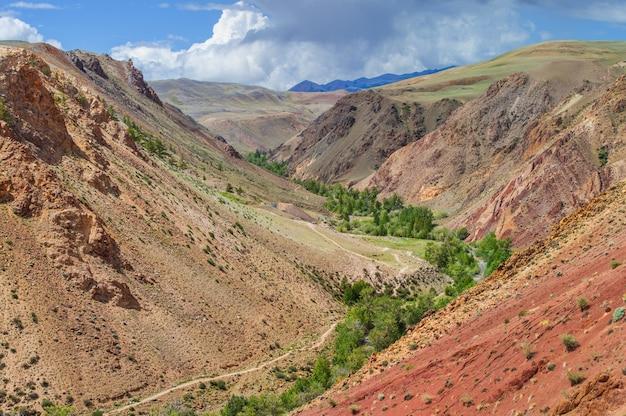 Desfiladeiro de montanha com encostas multicoloridas e vegetação