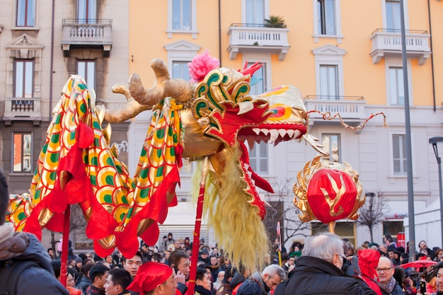 Desfile do ano novo chinês em milão