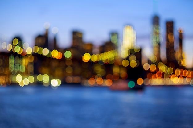 Desfocado, vista, cidade nova iorque, centro cidade, de, brooklyn