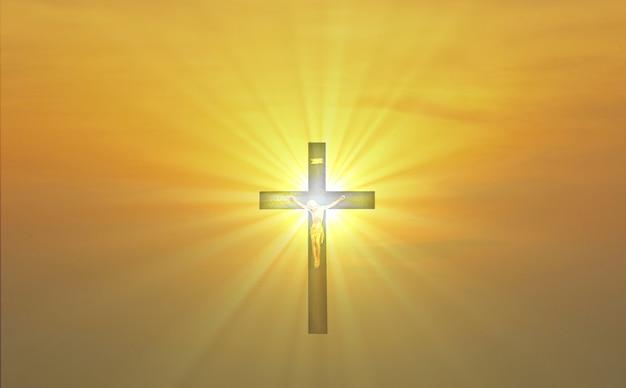 Desfocar a cruz de jesus christain em uma luz brilhante multicolorida de tom amarelo fundo abstrato