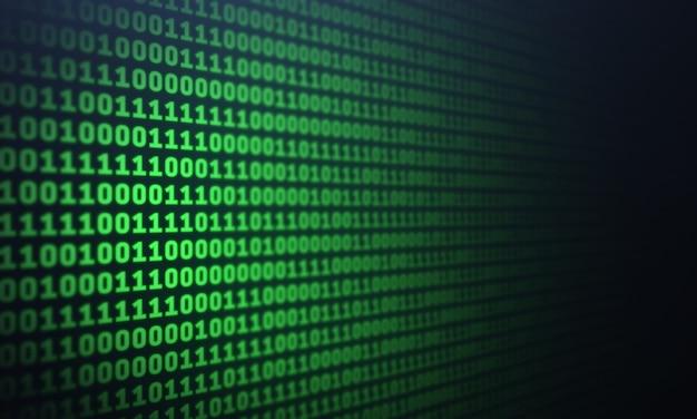 Desfocar o código binário no fundo da tela do computador tabela de listagem de dígitos verdes vista lateral tecnologia de dados