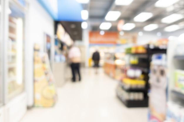 Desfocar prateleiras no supermercado