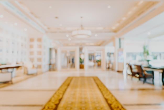 Desfoque abstrato e lobby de hotel de luxo desfocado para segundo plano