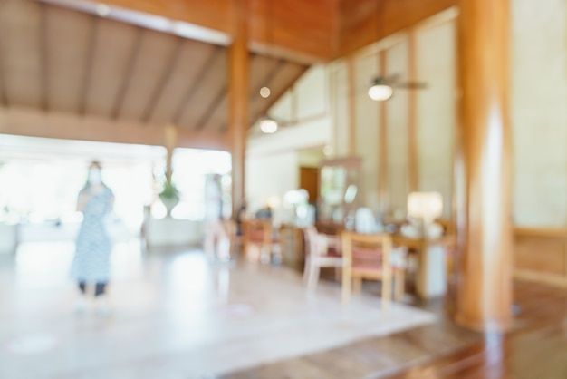 Desfoque abstrato e lobby de hotel desfocado como plano de fundo