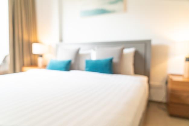 Desfoque abstrato e quarto de hotel desfocado para o fundo