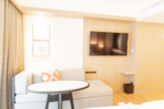 Desfoque abstrato e quarto de resort de hotel desfocado para mesa