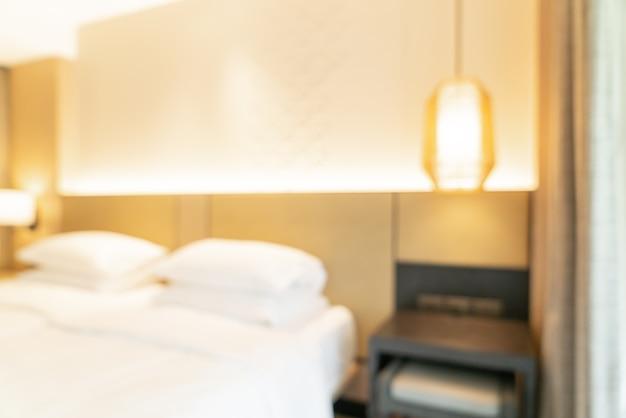 Desfoque abstrato e quarto de resort de hotel desfocado