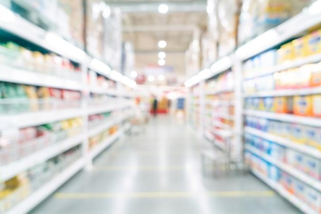 Desfoque abstrato e supermercado desfocado para segundo plano