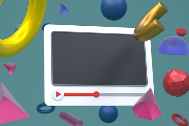 Design 3d do player de vídeo do youtube ou interface do player de mídia de vídeo em geometria abstrata
