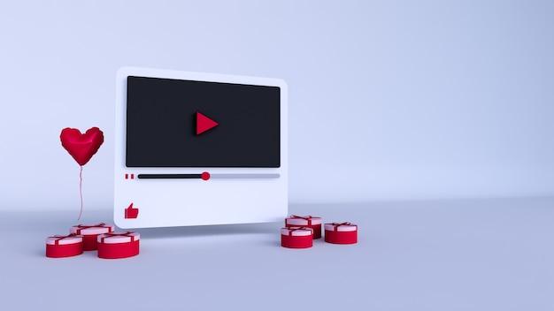 Design 3d do player de vídeo do youtube ou interface do player de mídia de vídeo no dia dos namorados