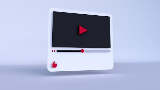 Design 3d do player de vídeo do youtube ou interface do player de mídia de vídeo