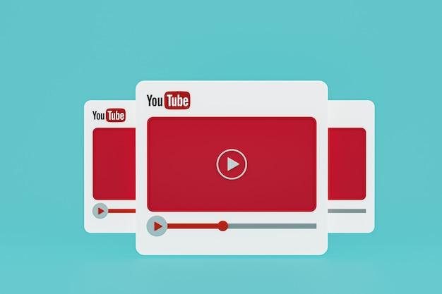 Design 3d do player de vídeo do youtube ou interface do player de mídia