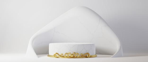 Design branco luxuoso mínimo pódio da caixa do cilindro no fundo da parede de concreto branco. exibir vitrine de plataforma de palco de cena, produto, apresentação, cosmético. renderização 3d