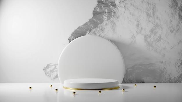 Design branco luxuoso mínimo pódio da caixa do cilindro no fundo da parede de concreto branco.