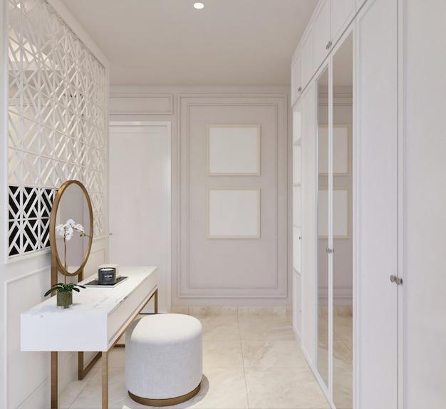 Design clássico moderno da área de guarda-roupa em um quarto