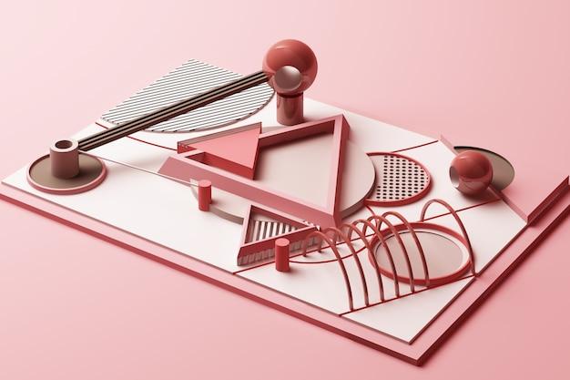 Design com composição de formas geométricas estilo memphis em renderização 3d em tom rosa pastel