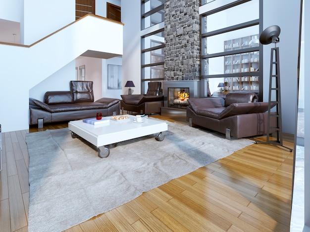Design contemporâneo de sala de estar.