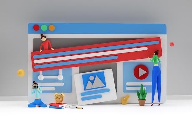 Design criativo de renderização em 3d para banner de desenvolvimento web, material de marketing, apresentação de negócios, publicidade online.