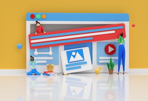 Design criativo de renderização em 3d para web banner, material de marketing, apresentação de negócios, publicidade online.