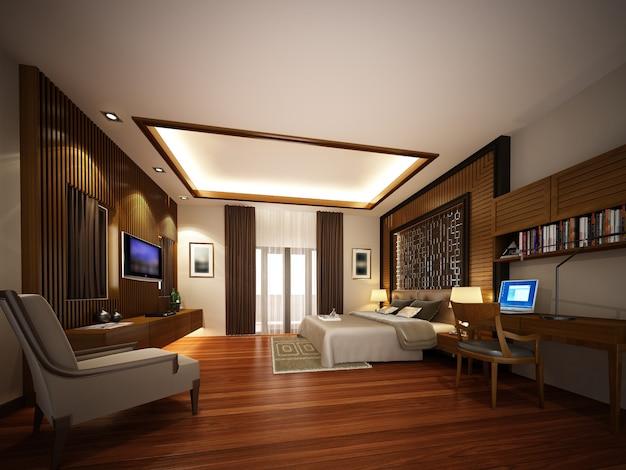 Design da sala de estar interior, renderização em 3d