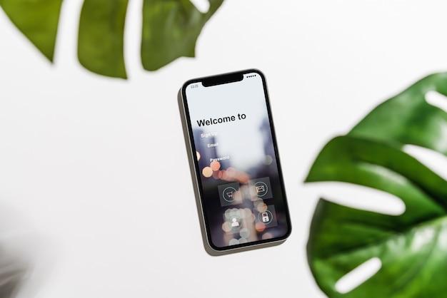 Design da tela do smartphone, acesso a aplicativos, login, conceitos modernos.