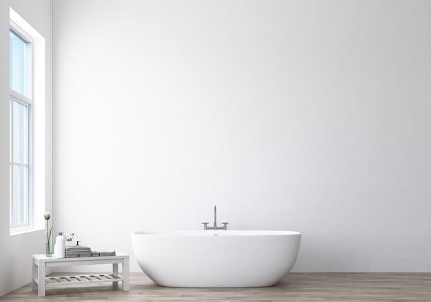 Design de banheiro moderno e loft com renderização 3d em parede branca
