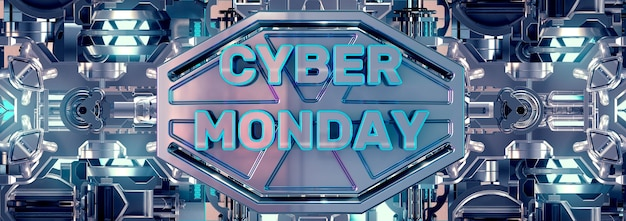 Design de banner e selo metálico cyber monday para campanha de eletrônicos.