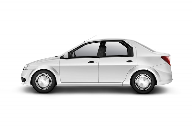 Design de carro branco em branco, isolado, vista lateral