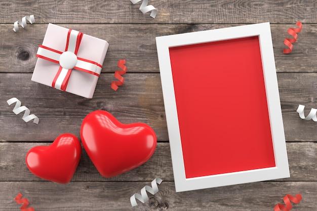 Design de cartão de dia dos namorados. renderização 3d.