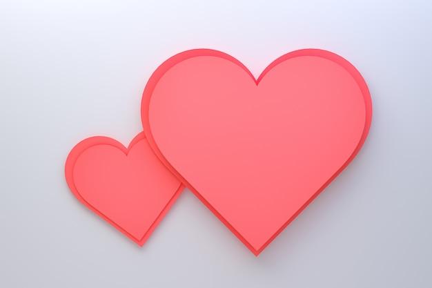 Design de cartão de renderização 3d, corações vermelhos com letras cartão postal. fundo de amor para feliz dia dos namorados ou amor mãe cartão design.