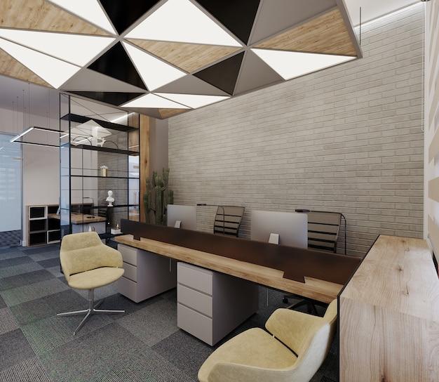 Design de escritório moderno com mesa, cadeiras e design de teto, renderização 3d