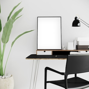 Design de escritório moderno com moldura vertical