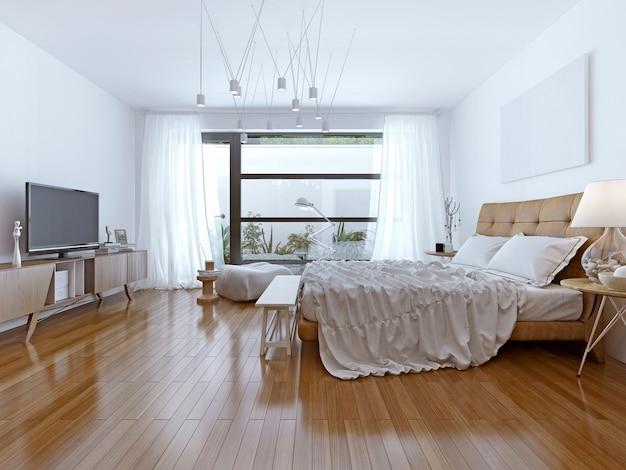 Design de estilo contemporâneo de quarto luminoso.