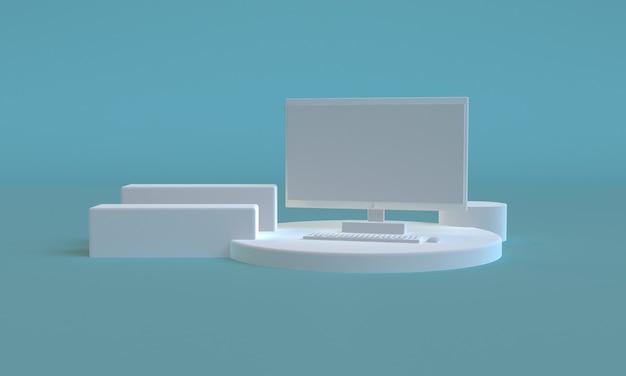 Design de estilo minimalista de cor azul de computador 3d, simulação de apresentação de pódio de cena, 3d rendem o fundo abstrato.