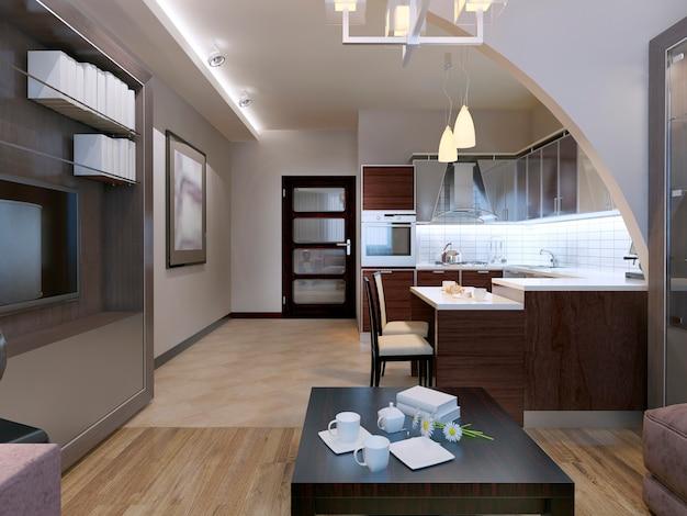 Design de estúdio contemporâneo com cozinha e sala separados por um belo arco