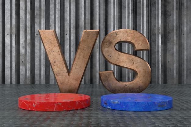 Design de exibição do produto de comparação com texto versus. renderização em 3d.