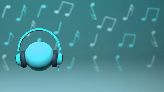 Design de fone de ouvido ciano 3d com notas musicais no fundo