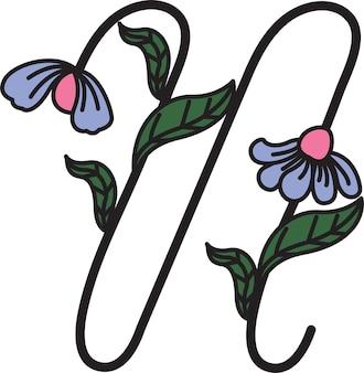 Design de fonte em forma de flores adequado para fazer logotipos ou usado para ensinar crianças