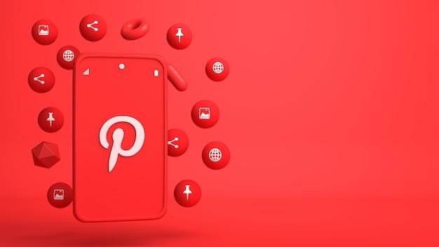 Design de ilustração 3d do pinterest phone e ícones pop-up