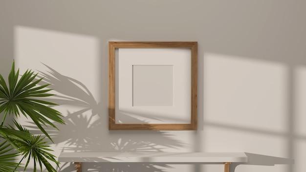 Design de interior minimalista com moldura de maquete na parede branca, mesa e planta de casa brancas