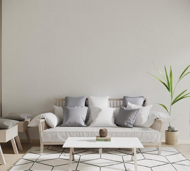 Design de interiores 3d render com sofá, travesseiro e planta