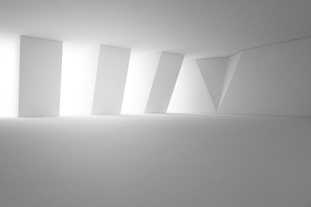 Design de interiores abstrato da sala de exposições moderna com assoalho vazio e fundo branco da parede.
