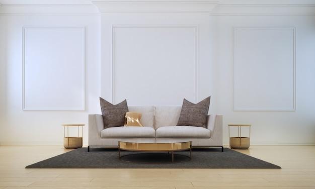 Design de interiores aconchegante e minimalista e móveis de sala de estar e textura de parede