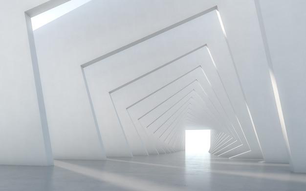 Design de interiores branco vazio iluminado sumário do corredor. renderização em 3d.