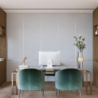 Design de interiores com cadeira e mesa no escritório