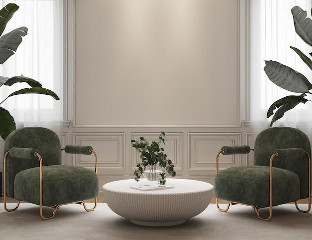 Design de interiores com poltrona verde e plantas