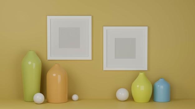 Design de interiores com simulação de molduras na parede amarela e vasos em tons pastel.