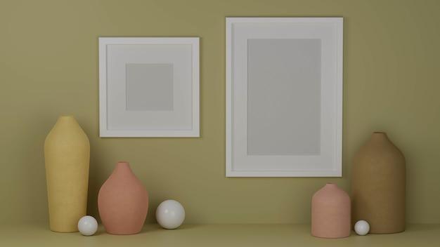 Design de interiores com simulação de molduras na parede verde e vasos em tons pastel.