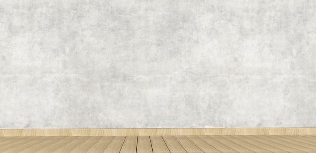 Design de interiores concreto com piso de madeira. renderização 3d.
