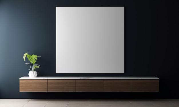 Design de interiores da sala de estar azul com elegante modular, moldura de lona, plantas, divisória neutra, decoração e acessórios elegantes. decoração tropical moderna, renderização em 3d